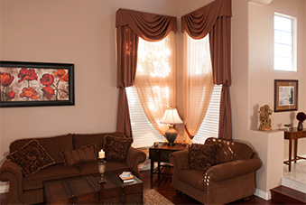 Drapery and shades in a living room