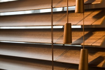 Close up of wooden blinds