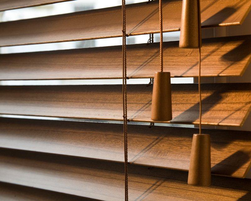 close up of wooden blinds installed by Benjamin Draperies